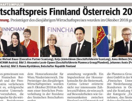 Kurier: Wirtschaftspreis Finnland Österreich 2018